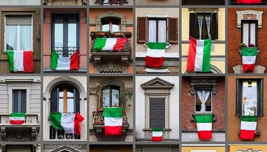 Italy Windows with flags